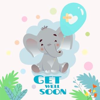 Gute besserung mit elefanten