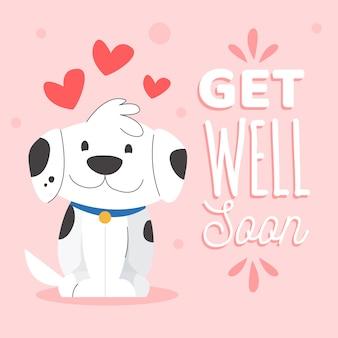 Gute besserung, schriftzug mit süßem hund