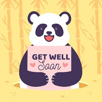 Gute besserung, schriftzug mit süßem panda