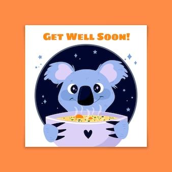 Gute besserung, süßer koala mit suppe