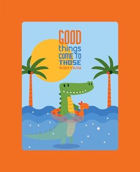 Gute dinge kommen zu denen, die schwimmen. krokodilschwimmen im wasser im gummiring in form einer giraffe. palmen und strahlende sonne.