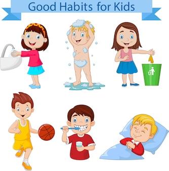 Gute gewohnheiten sammlung für kinder