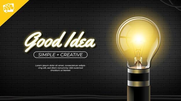 Gute idee glühbirne auf schwarzer backsteinmauer