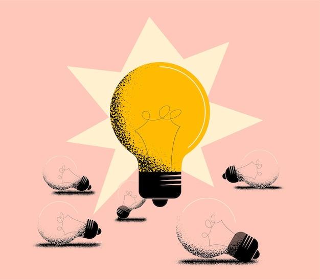 Gute idee oder funktionierendes ideenkonzept mit großer glühbirnenlampe und den unten liegenden funktionsunfähigen erloschenen glühbirnen