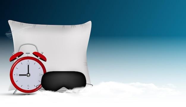Gute nacht abstrakter hintergrund mit schlafmaske, wecker und kissen