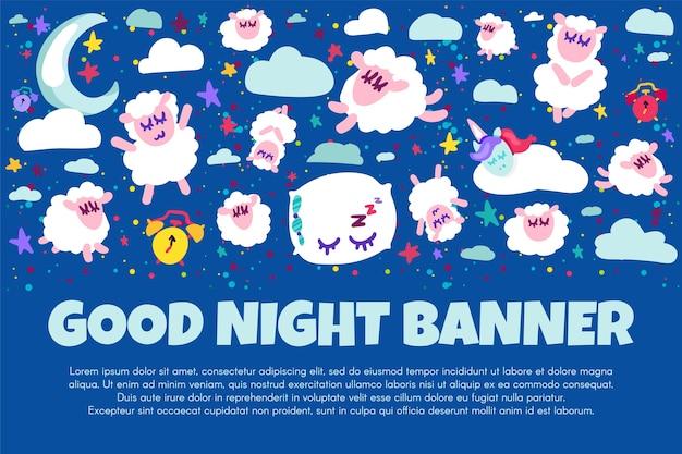 Gute nacht banner mit flachen schafen