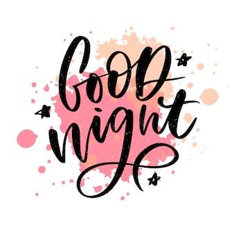 Gute nacht. handgezeichnete typografie