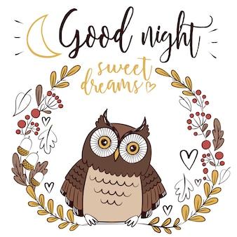 Gute nacht hintergrund mit eule