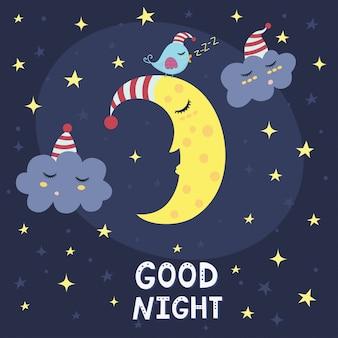 Gute nachtkarte mit dem niedlichen schlafenden mond, den wolken und einem vogel. vektor-illustration