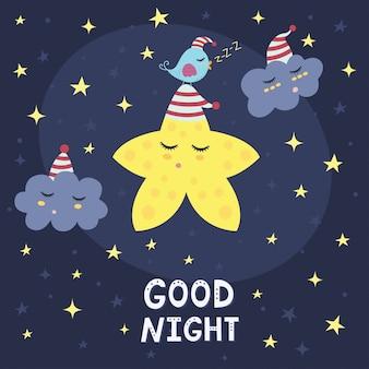 Gute nachtkarte mit einem niedlichen stern, wolken und einem vogel. vektor-illustration