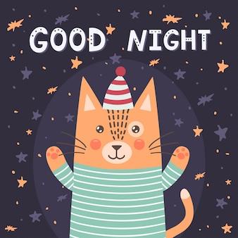 Gute nachtkarte mit einer niedlichen katze.
