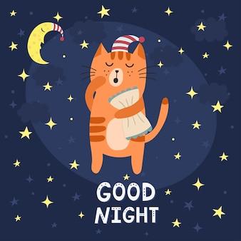 Gute nachtkarte mit einer niedlichen schläfrigen katze.