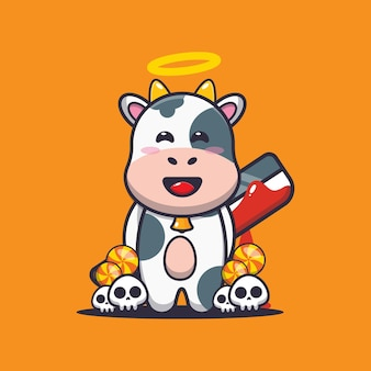 Gute oder schlechte kuh mit blutiger machete süße halloween-cartoon-illustration