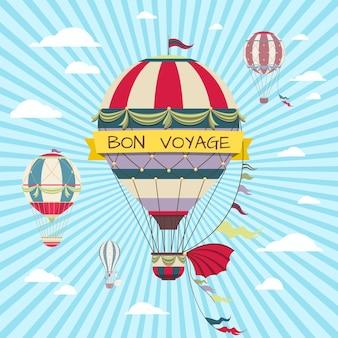 Gute reisekarte mit heißluftballon im himmel
