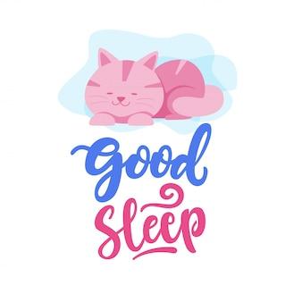 Gute schlaf-katze-typografie-illustration
