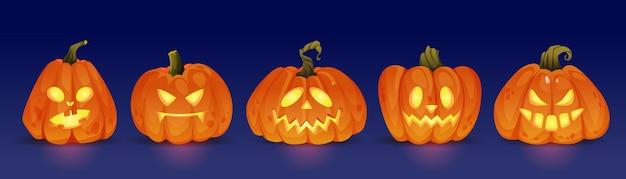 Gute und böse leuchtende halloween-kürbis-charaktere, die jack-o-laternen mit lichttrick verfolgen oder