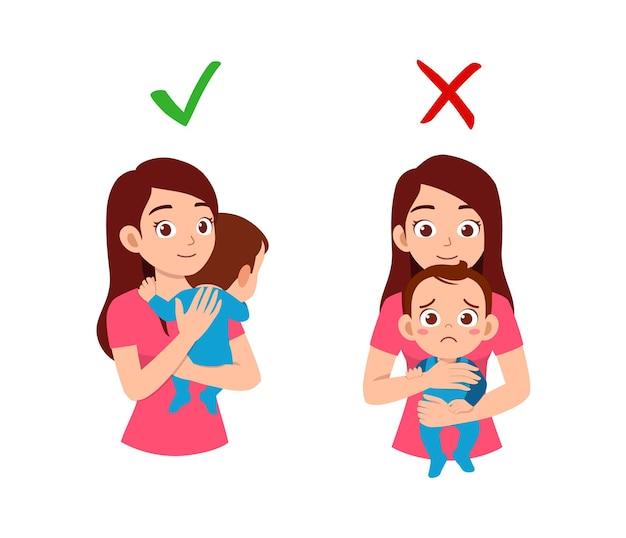 Gute und schlechte art für mutter, baby zu halten