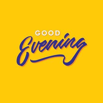 Guten abend hand schriftzug