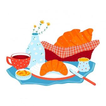 Guten morgen frühstück, konzept croissant gebäck mit tee, kaffee cremige butter symbol lokalisiert auf weiß, cartoon illustration.