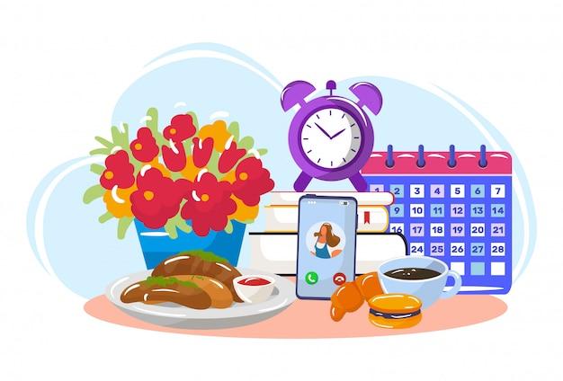 Guten morgen frühstück mit online-konversation, tabelle fast food, isoliert auf weißen, flachen vektor-illustration. einsteckbuch und kalender.