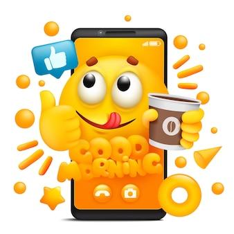 Guten morgen. gelbe karikatur-emoji-figur. smartphone-anwendungsvorlage.