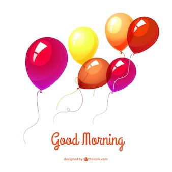 Guten morgen hintergrund mit luftballons