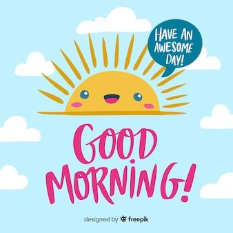 Guten morgen hintergrund schriftzug stil