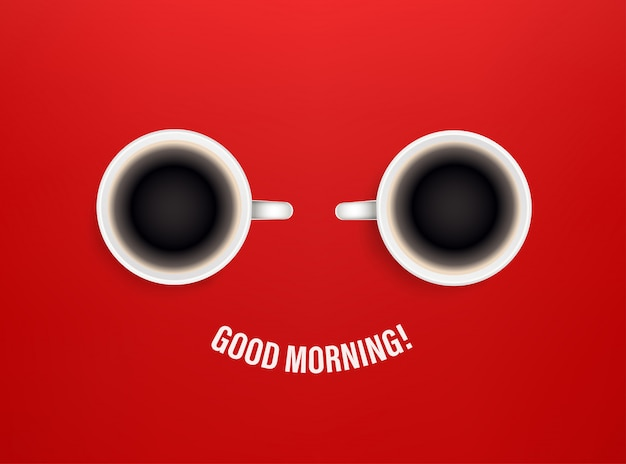 Guten morgen konzept mit kaffeetassen