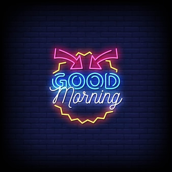 Guten morgen neon zeichen stil text