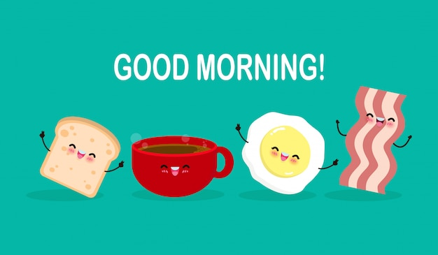Guten morgen niedlichen cartoon glückliche kaffeetasse, ei, toast, speck, frühstück lustige zeichen isolierte flache illustration