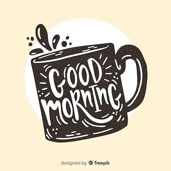Guten morgen schriftzug hand gezeichnete design