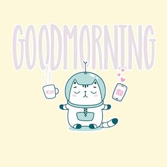 Guten morgen schriftzug mit lustigen astronauten katze