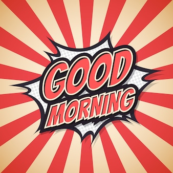 Guten morgen schriftzug. plakat-comic-sprechblase.
