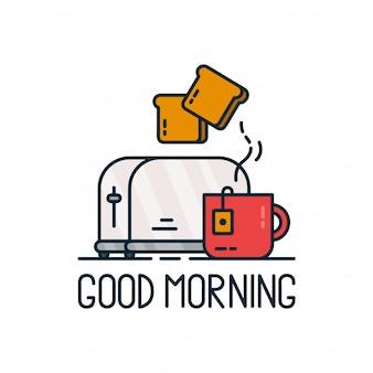 Guten morgen. toaster und eine tasse tee