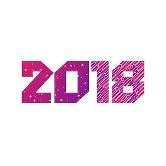 Guten rutsch ins neue jahr-2018 bunte design-vektor-gruß-illustration