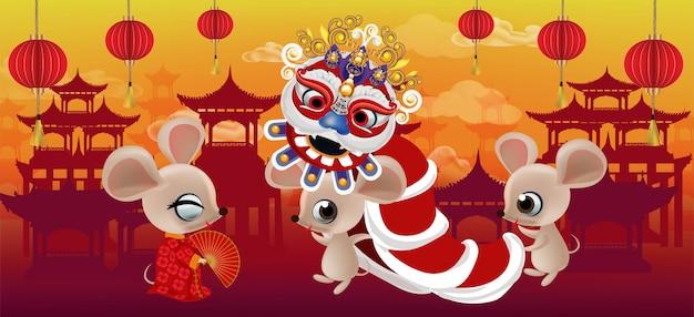 Guten rutsch ins neue jahr 2020, jahr der ratte auf china-stadthintergrund