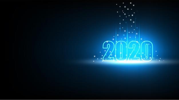 Guten rutsch ins neue jahr 2020 mit abstraktem futuristischem hintergrund der technologie