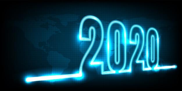 Guten rutsch ins neue jahr 2020. technologiezusammenfassung mit glühendem neonlicht auf erde