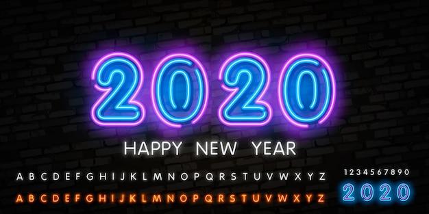 Guten rutsch ins neue jahr 2020. technologiezusammenfassung mit glühendem neonlicht