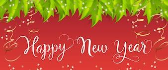 Guten Rutsch ins Neue Jahr-Beschriftung mit Mistelblättern und Ausläufern