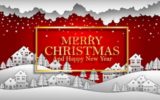 Guten rutsch ins neue jahr-frohe weihnachten 2019 roter hintergrund mit haus und schnee