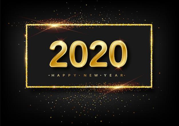 Guten rutsch ins neue jahr-glittergoldfeuerwerke. goldener funkelnder text und 2020 zahlen mit schein glänzen für feiertagsgrußkarte.