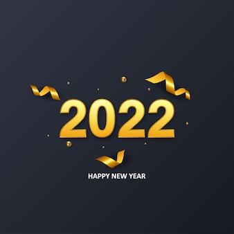 Guten rutsch ins neue jahr goldener hintergrund 2022 mit konfetti-vektor