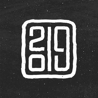 Guten rutsch ins neue jahr-grußkartenentwurf 2019 mit typografietext auf schwarzer tafel
