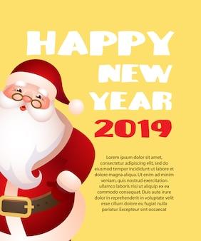 Guten rutsch ins neue jahr mit gelbem fahnendesign der karikatur santa claus