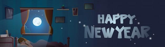 Guten rutsch ins neue jahr-text im fenster vom schlafzimmer mit schlafender mädchen-winterurlaub-fahne