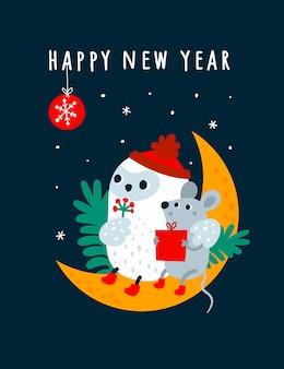 Guten rutsch ins neue jahr-wunsch 2020 und lustige karikaturmäuse, ratte, maus mit der vogeleule, die auf dem mond mit festlicher dekoration sitzt