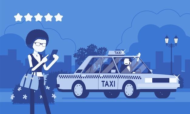Guter autofahrer im taxibewertungs-app-system. glückliches weibliches passagier-ranking mit smartphone-anwendung, service, route, preis, sicherheitsleistung bei fünf sternen. vektorillustration, gesichtslose charaktere