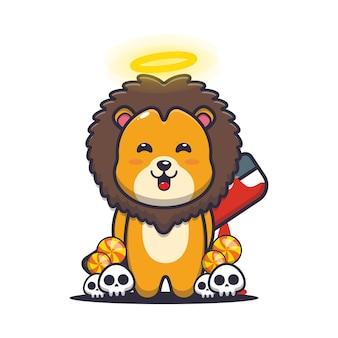 Guter oder böser löwe, der blutige machete hält süße halloween-cartoon-illustration