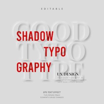 Guter schatten minimalist ux design texteffekt editierbarer premium-vektor